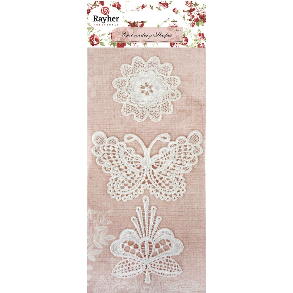 Spitzenmotive Blumen/Schmetterling, ca. 5-8cm, sortiert, SB-Btl 3Stück