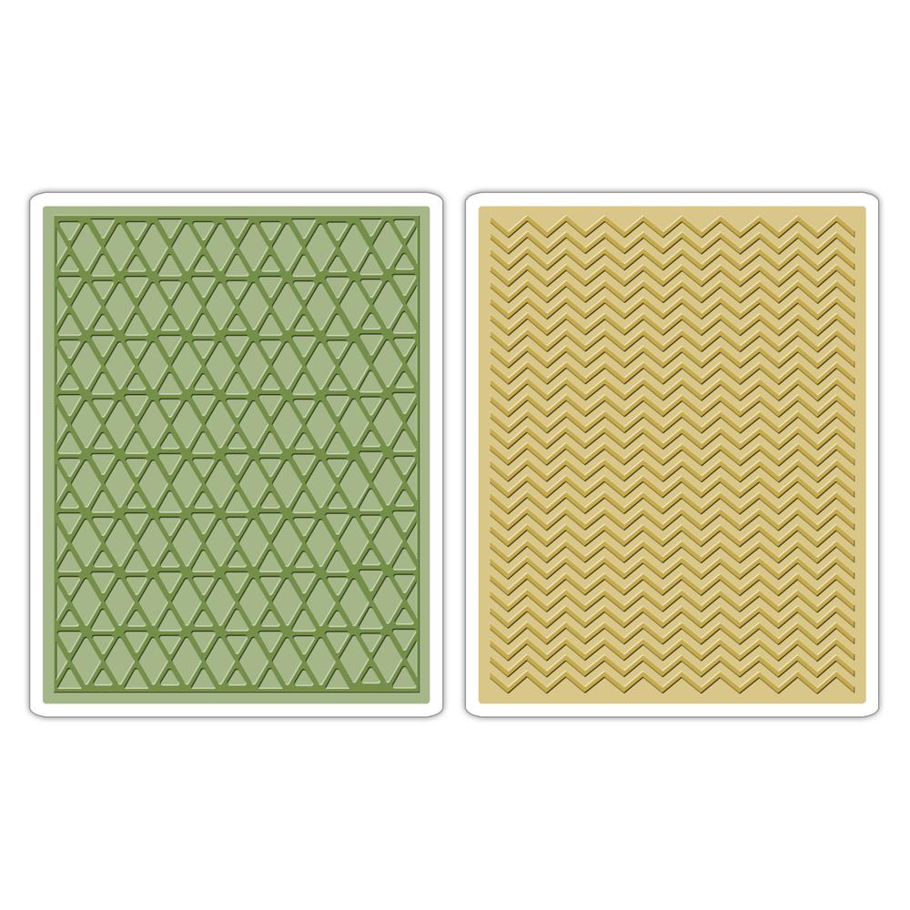 Sizzix Texture Fades Emb. Folder, Chevron&Lattice, T.Holtz, SB-Bli 2St.
