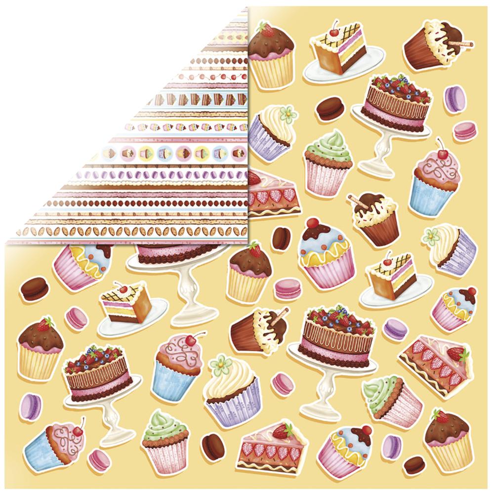 Scrapbookingpapier Bakery Borders, 30,5x30,5cm, 190g/m2, m. Glitter