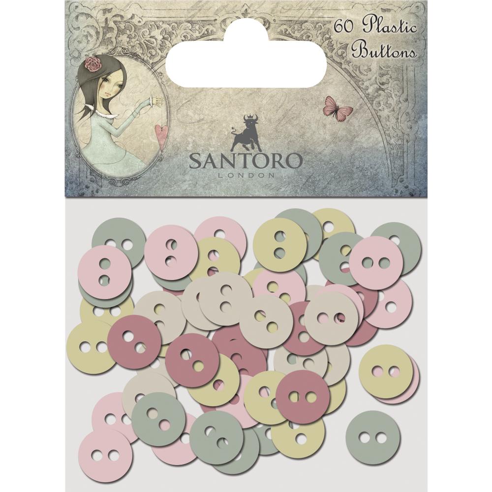 Plastic Buttons Santoro Mirabelle3, SB-Btl 60Stück