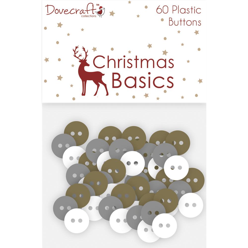 Plastic Buttons Christmas Basics, SB-Btl 60Stück