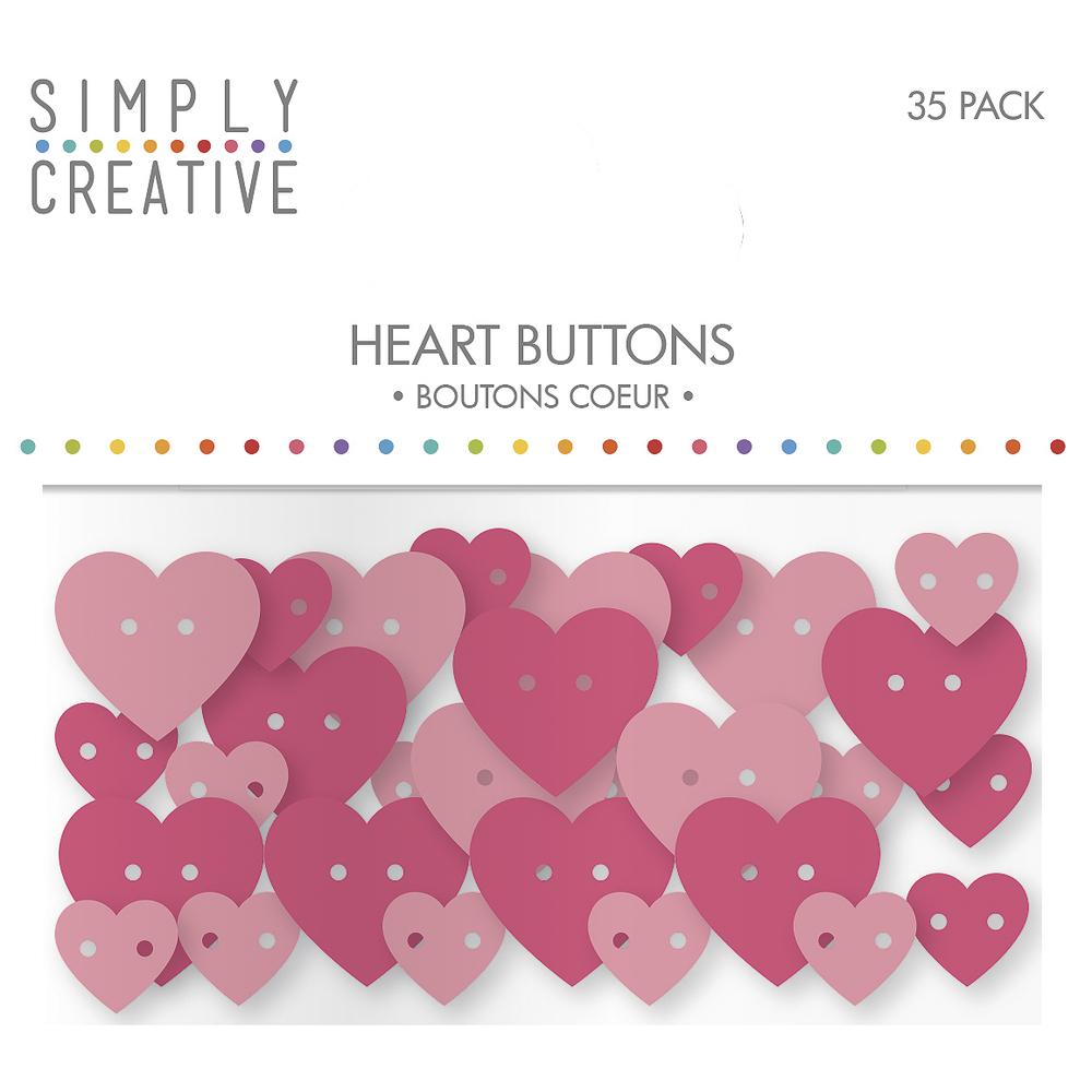 Plastic Buttons- Hearts, SB-Btl 35Stück