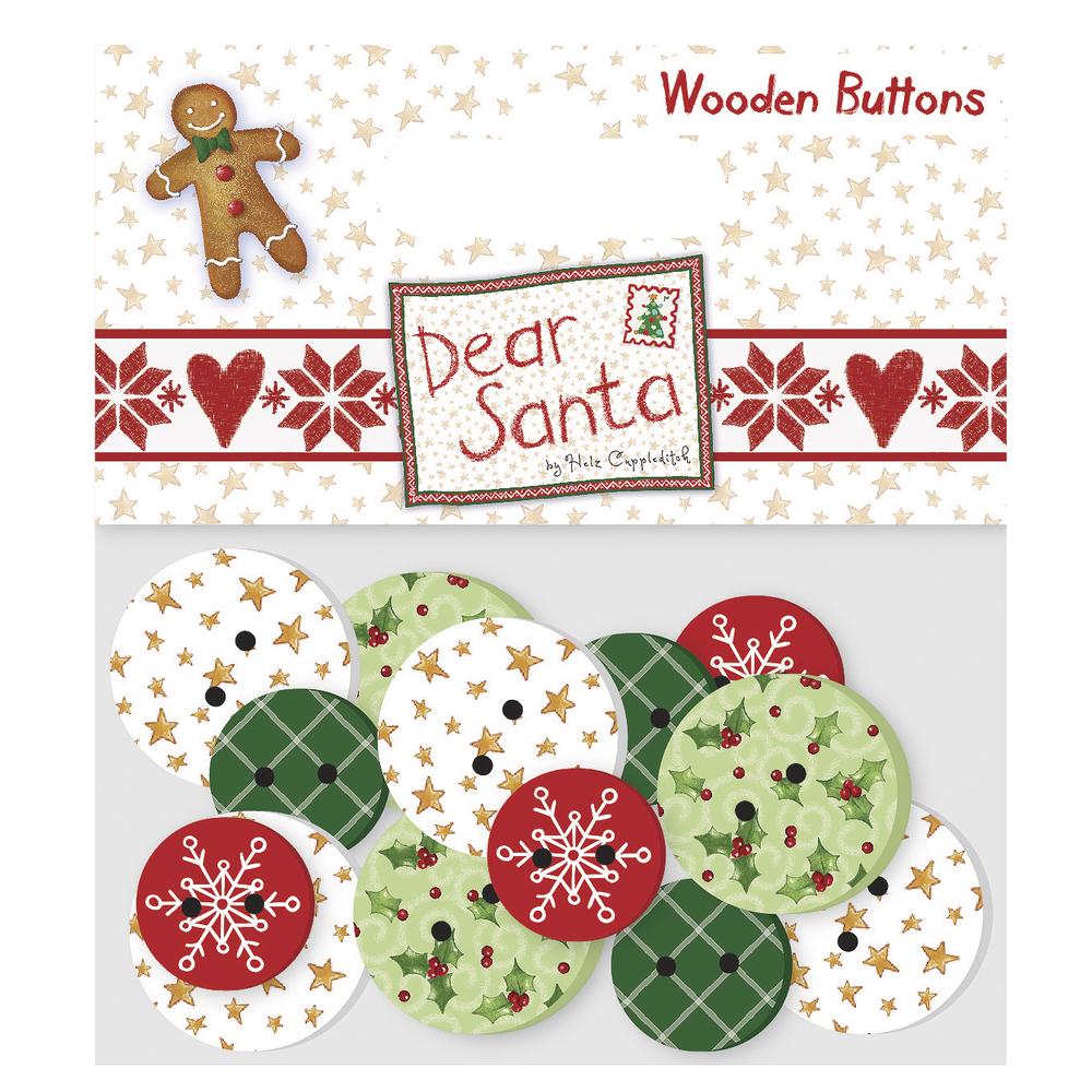 Wooden Buttons Dear Santa, SB-Btl 16Stück