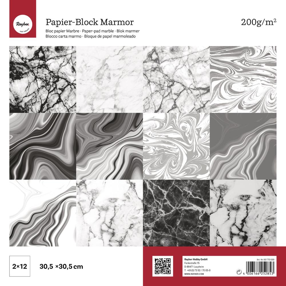 Scrap.-Block sort.Marmor, FSC Mix Credit, 30,5x30,5cm, 200g/m2, Block 24Bogen