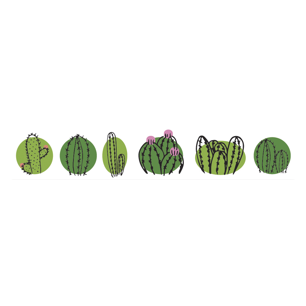 Washi Tape Cactus Family, 15mm, Rolle 10m