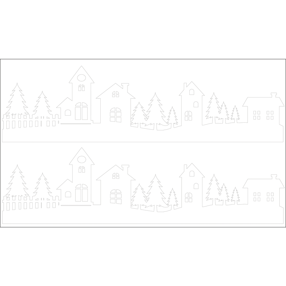 Deko-Abziehmotive Dorfidylle, 17x4cm, 2 Silhouetten, SB-Btl 2Bogen, weiß