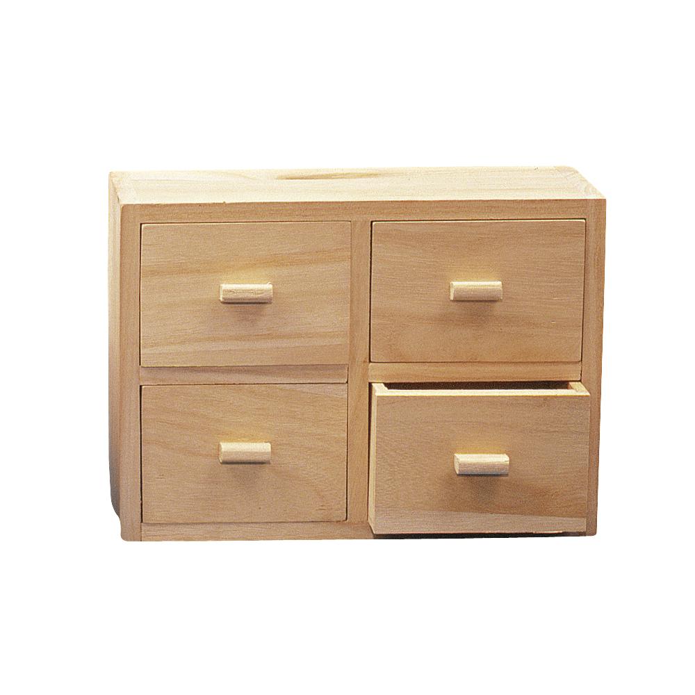 Holz Kommode FSC Mix Credit, 15x20x7cm, 4 Schubladen