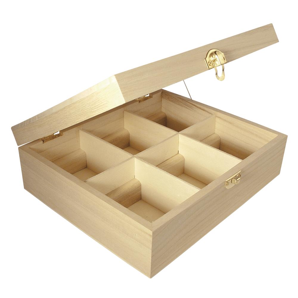 Holz Teebox, FSC Mix Credit, 6 Fächer, 21,5x18x7cm