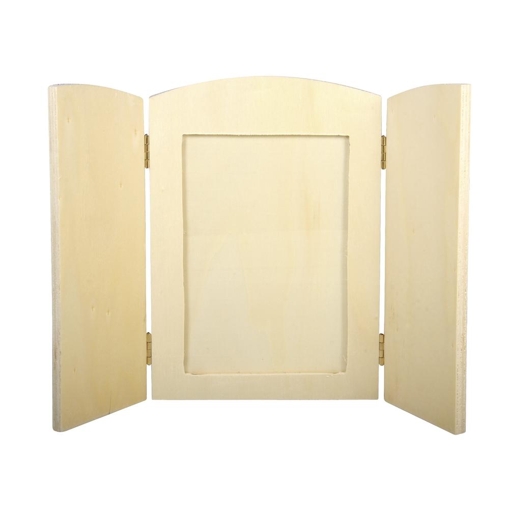 Holz- Fotorahmen, FSC Mix Credit, 18,5x13x0,6cm, m.aufklappb.Seitenteilen