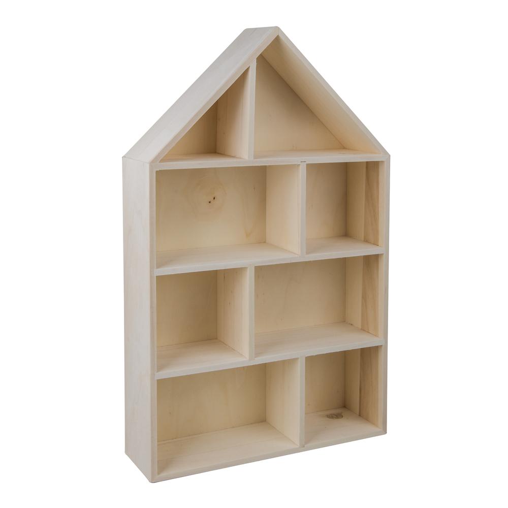 Holz-Setzkasten Haus,FSC Mix Credit, 30x50x8cm, 8 Abteilungen,zum Hängen