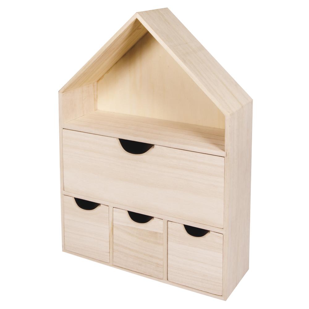 Holz Haus mit 4 Schubladen, FSC 100%, 28x10x41cm