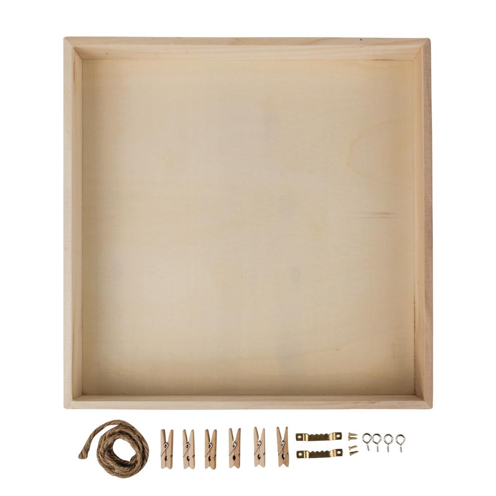 Holz-Rahmen m. Rückwand, FSC Mix Credit, 32x32x5cm, +Kordel,Aufh.,Klammern