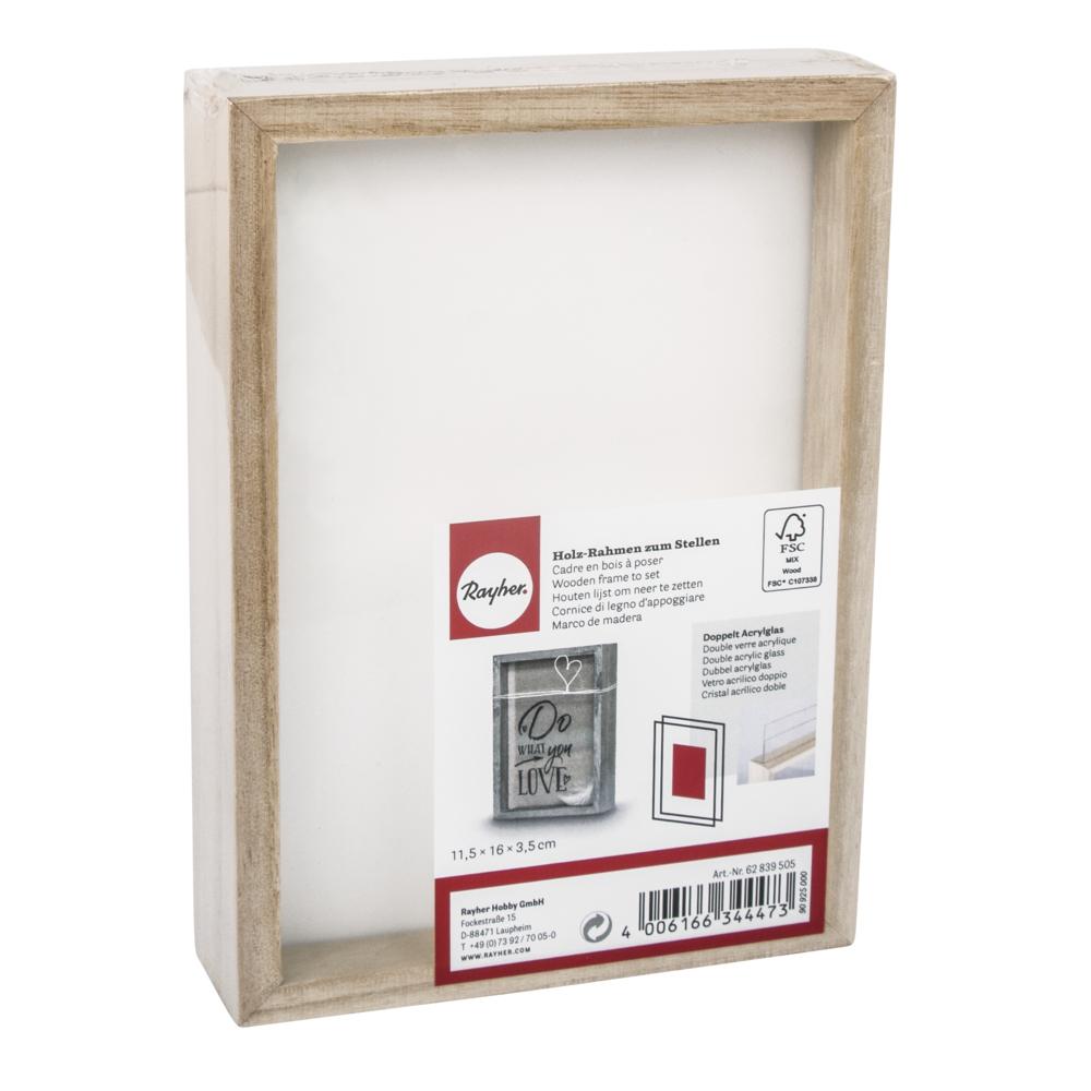 Holz-Rahmen zum Stellen, FSC Mix Credit, 11,5x16x3,5cm, mit doppelt-Acrylscheibe, natur