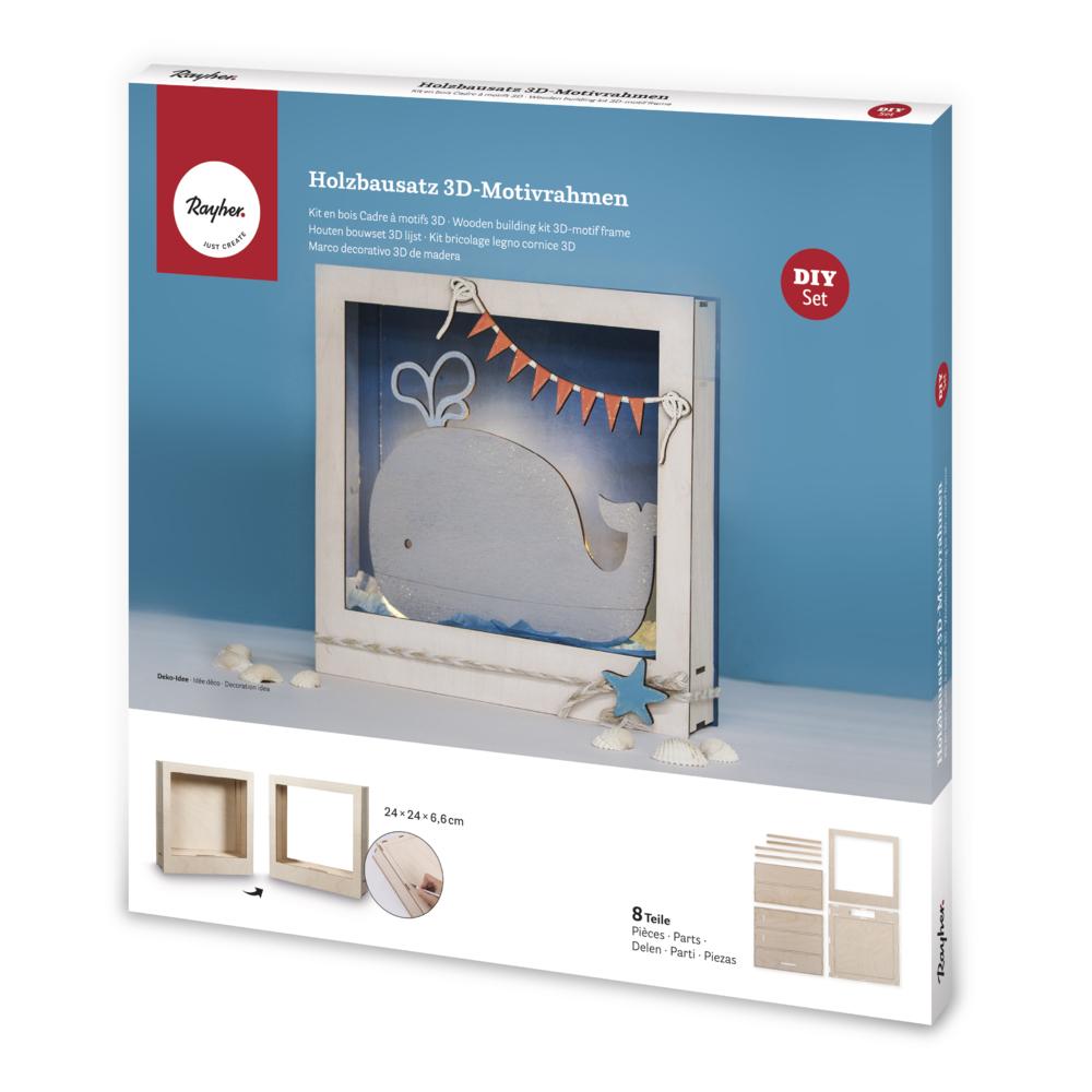 Holzbausatz 3D-Motivrahmen, FSC 100%, 24x24x6,6cm, 8-tlg. , Box 1Set, natur