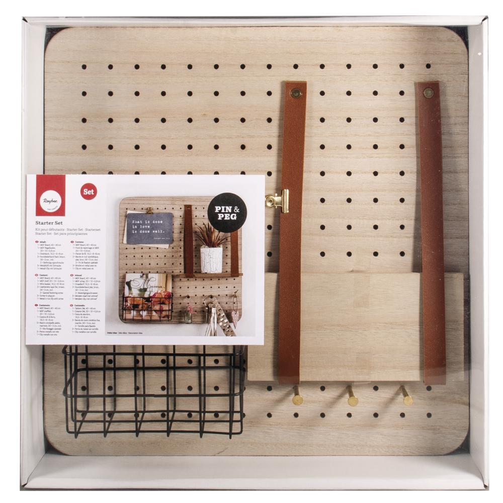 Starter Set Pin&Peg, 40x40x2,5cm, inkl. Aufhänger, Box 1Set