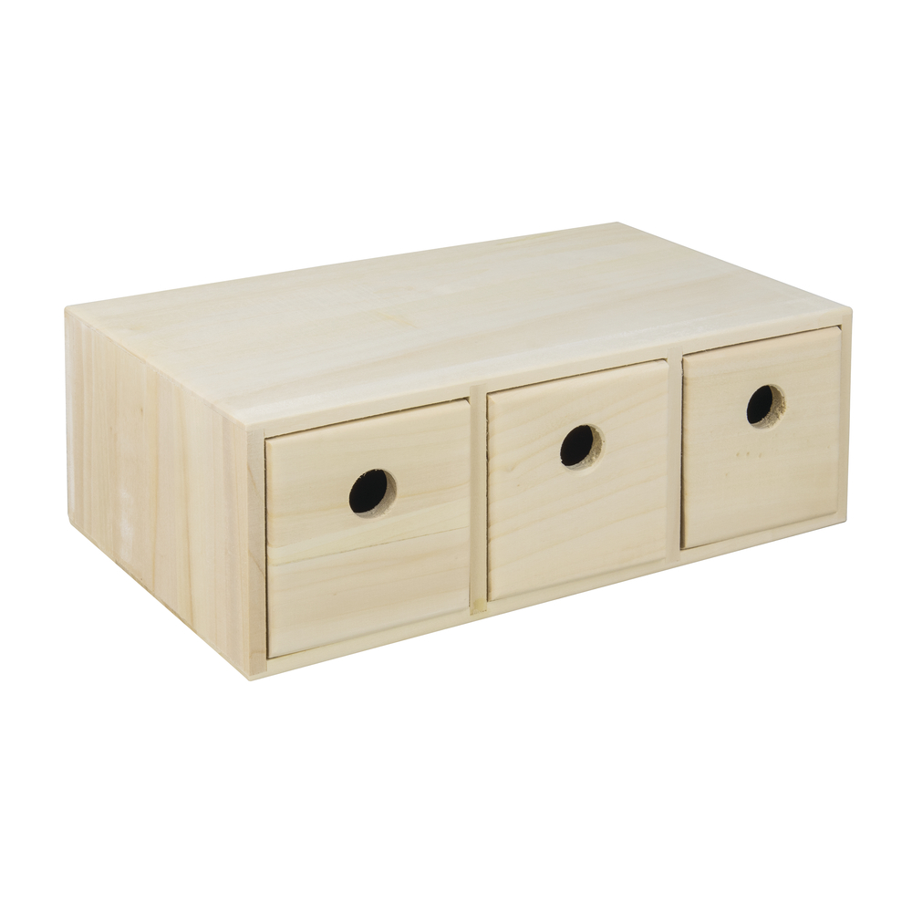 Holzkommode mit 3 Schubladen, FSC 100%, 32x18x11,5cm, natur