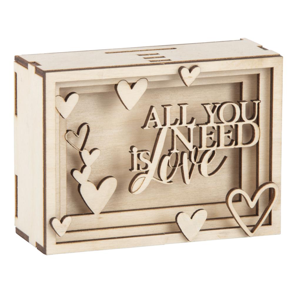 Holz 3D Geschenkbox Love,FSCMixCred, 11,5x8,5x5cm, 14 tlg. Bausatz, Box 1Set, natur