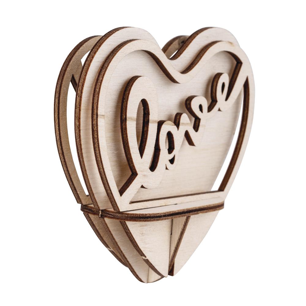Holz-Steckt. Love,FSCMixCred, 5-tlg., 10cm Herz, SB-Btl 1Set, natur