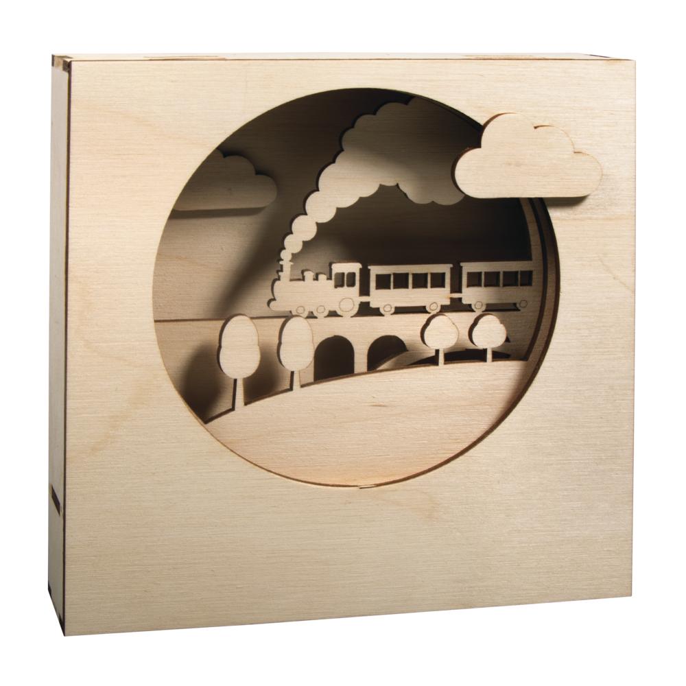Holzbausatz 3D-Motivrahmen, FSCMixCred., 15,5x15,5x3,4cm, Zug, 13tlg., Box 1Set, natur