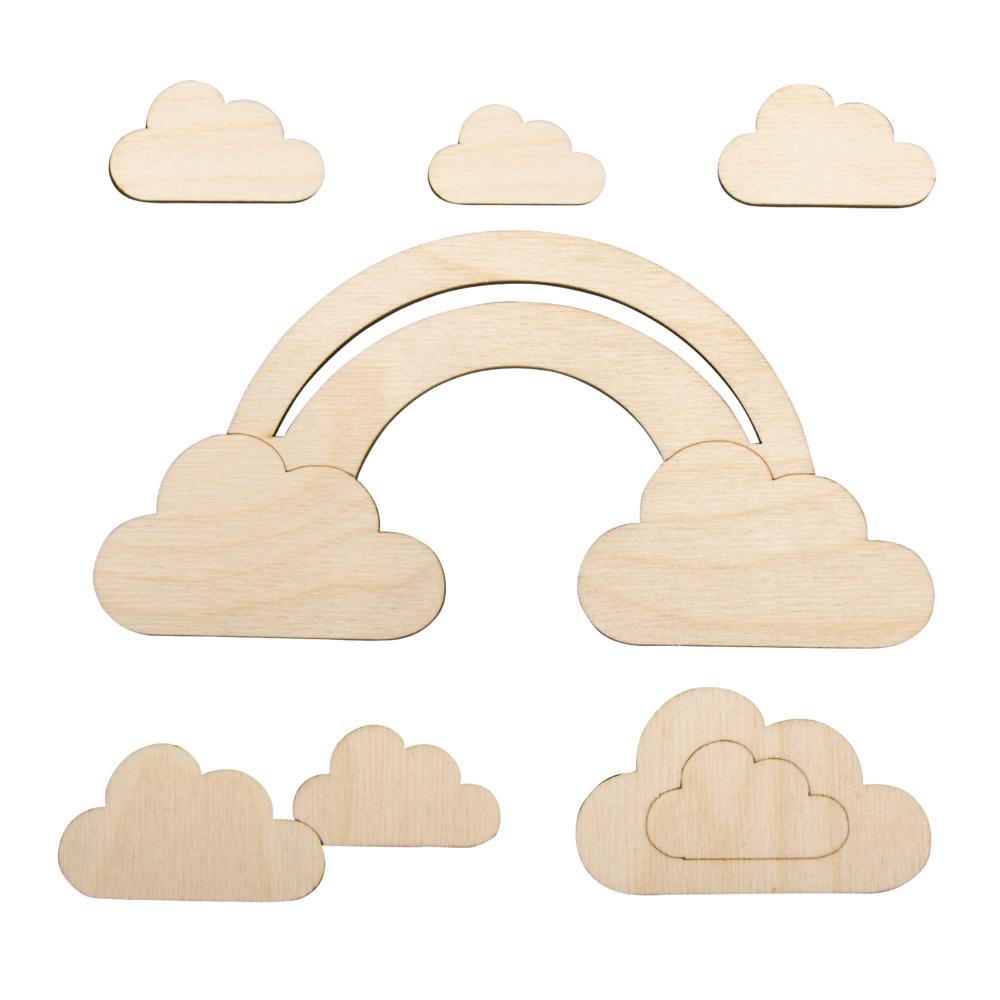 Holzmotiv kleine Wolke, FSCMixCred, 16,8x8,3cm, 6-teilig, SB-Btl 1Set, natur