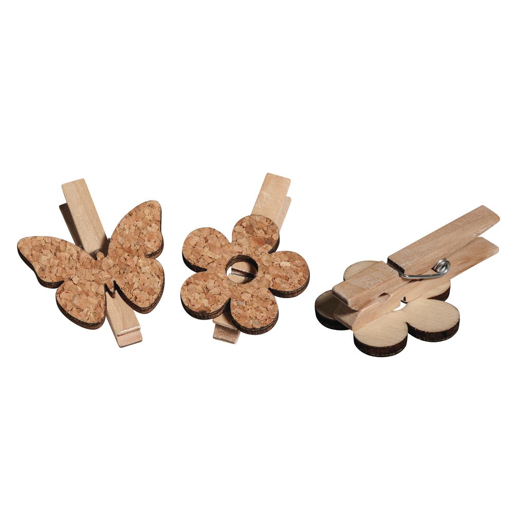 Kork/Holz Blume+Schmetterling aufKlammer, 4.5x5.0cm, 2 Sorten, SB-Btl 6Stück