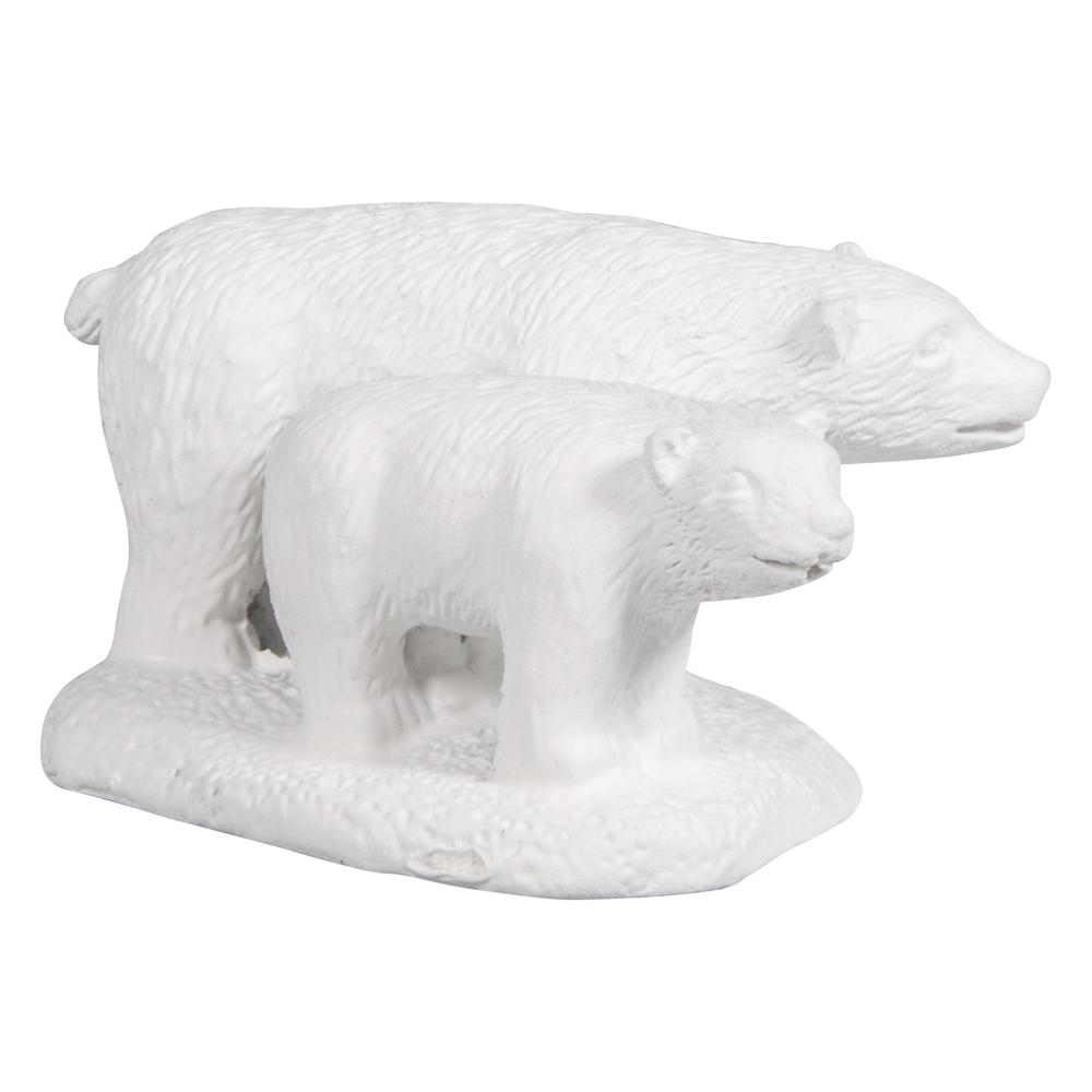 Polyresin-Figur Bären weiß, 4,5x2,5cm, m. Klebepunkte, Beutel 1Stück