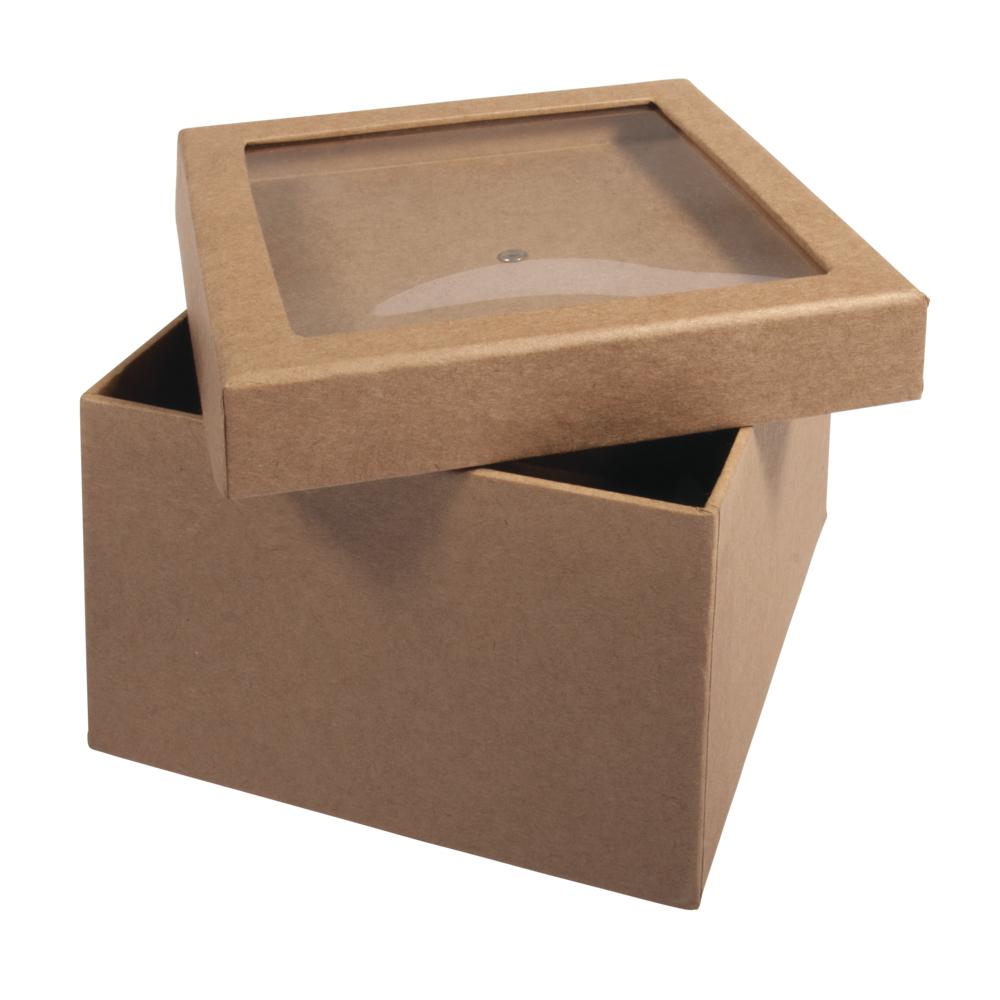Pappm.Box m. Schütteldeckel,FSC Rec.100%, 12,5x12,5x9cm, kraft