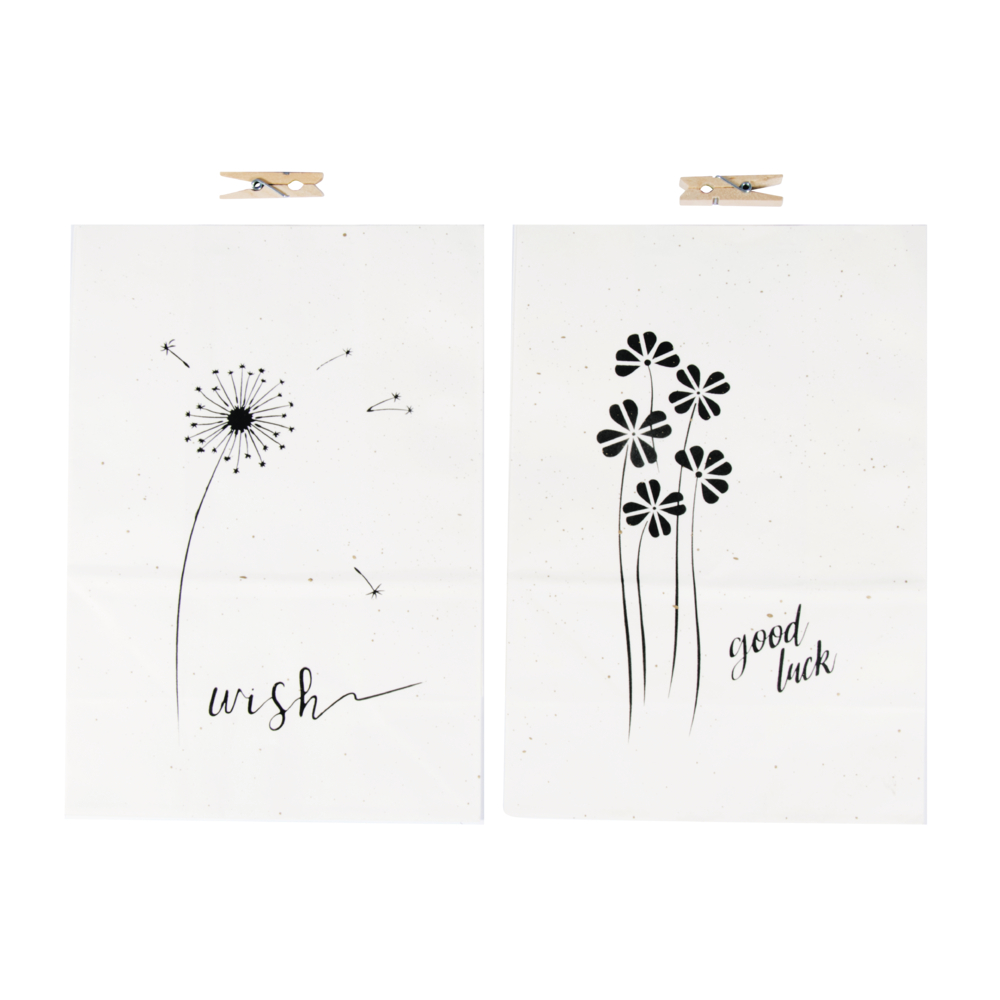 Papiertüten Wünsche mit Holzklammern, 14x19,7x8cm, SB-Btl 2Stück, weiß