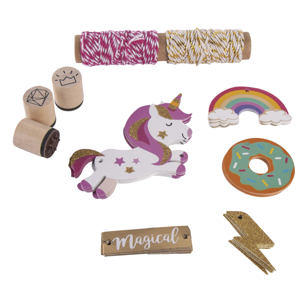 Set-Geschenkanhänger Unicorn, Tags+Kordel+Stempel