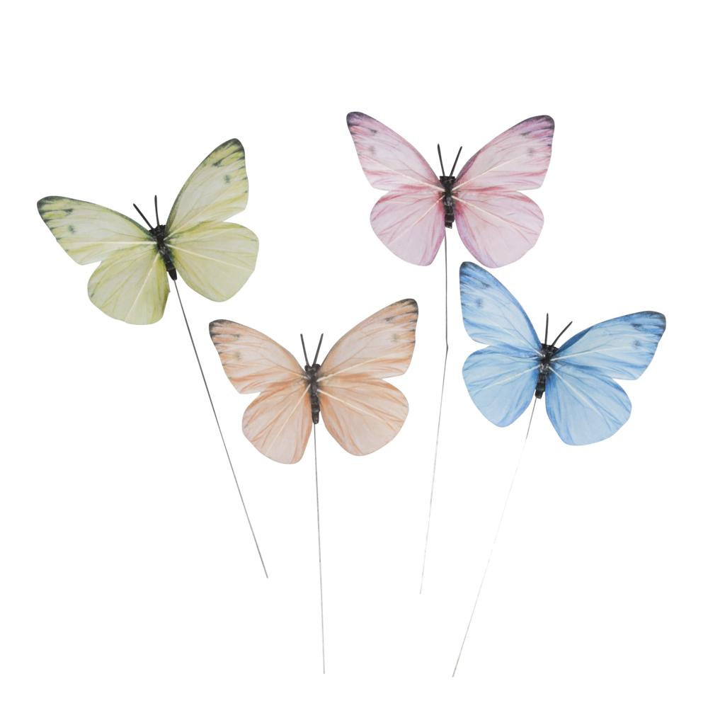 Papier-Schmetterlinge, 8cm ø, PVC-Box 4Stück, bunt
