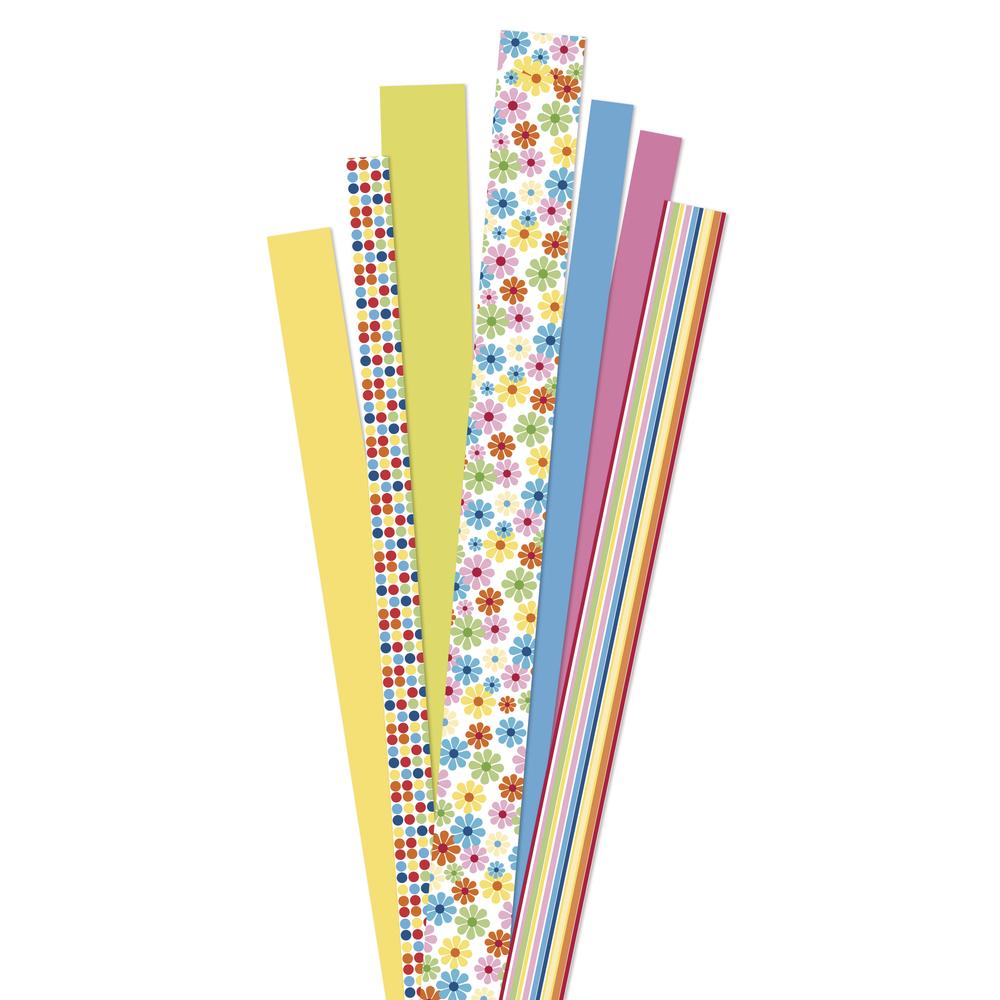Papierstreifen, FSC Mix Credit, ''Flower Garden yellow'', SB-Btl 90Stück