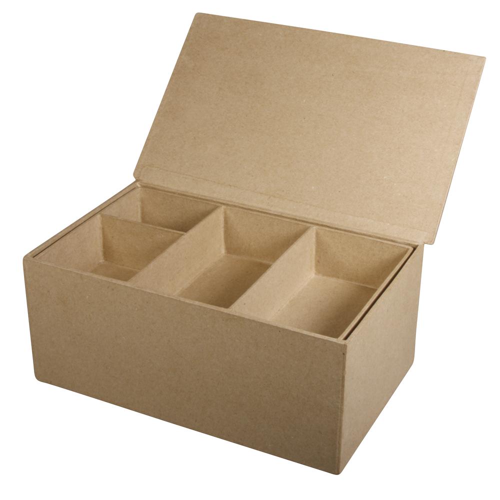 Pappm. Sortierbox FSCRecycled100%, 22,5x14x10cm, 4 kl., 1 gr. Innenfach