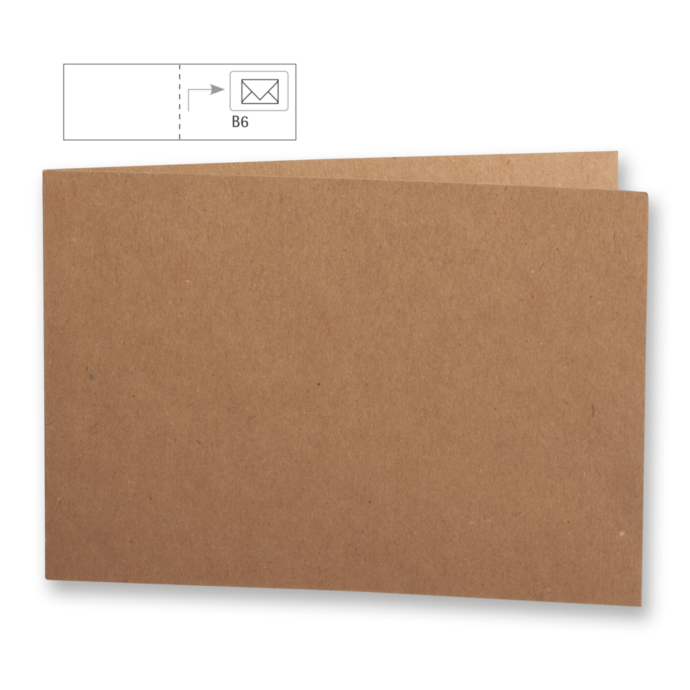 Karte B6, querformat,kraft,FSC Rec.Cred, 336x116mm, 220g/m2, Beutel 5Stück, kraft