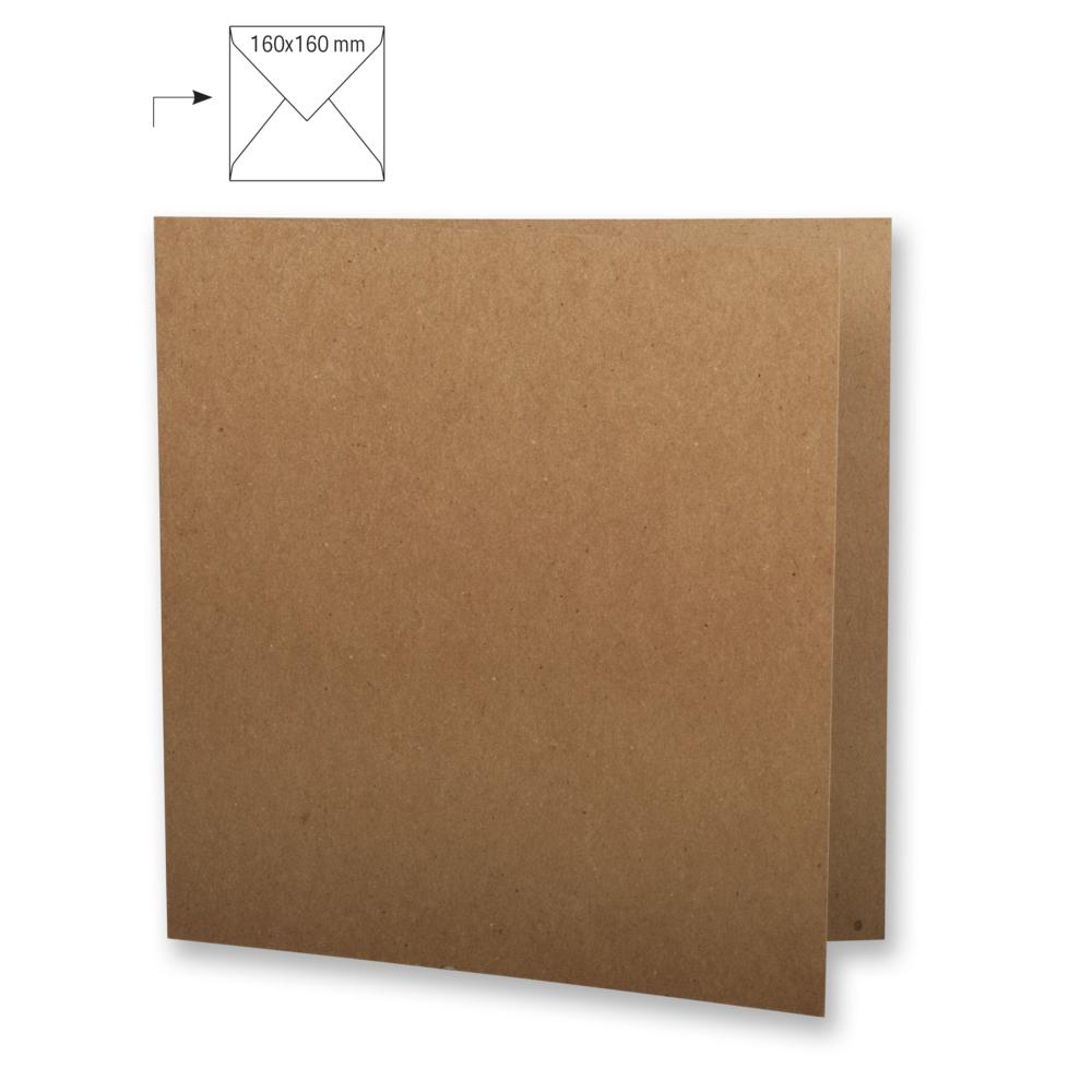 Karte quadr.,doppelt,kraft,FSC Rec.Cred, 150x300mm, 220g/m2, Beutel 5Stück, kraft