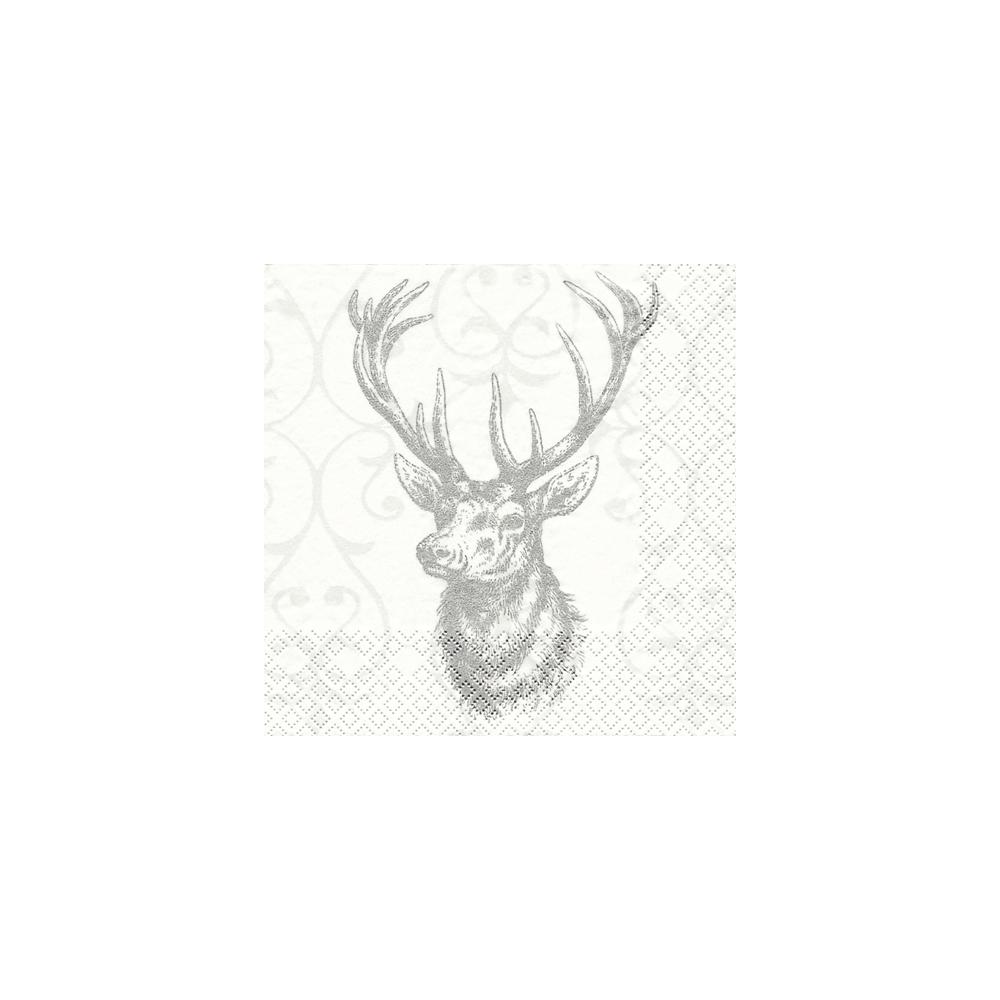 Servietten, 33x33 cm, Packung 20 Stück, Silber Hirsch