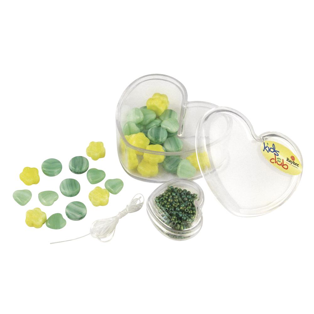 Glasperlen-Mix-Feenzauber, Dose 36 Stück + Rocailles, gelb, grün Töne
