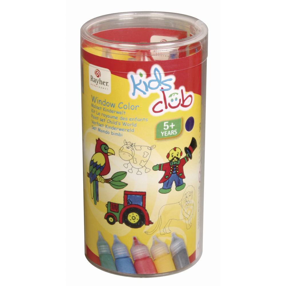 Window Color Malset Kinderwelt, 5x25ml inkl. Vorlagen, Malfolie, PVC-Box