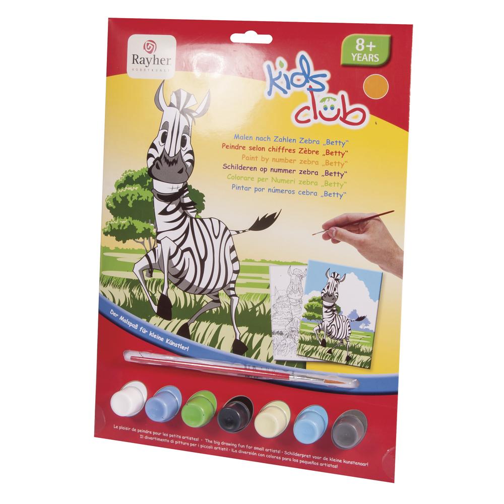 Malen nach Zahlen- Zebra Betty, 22,5x29,4cm, 10-teilig