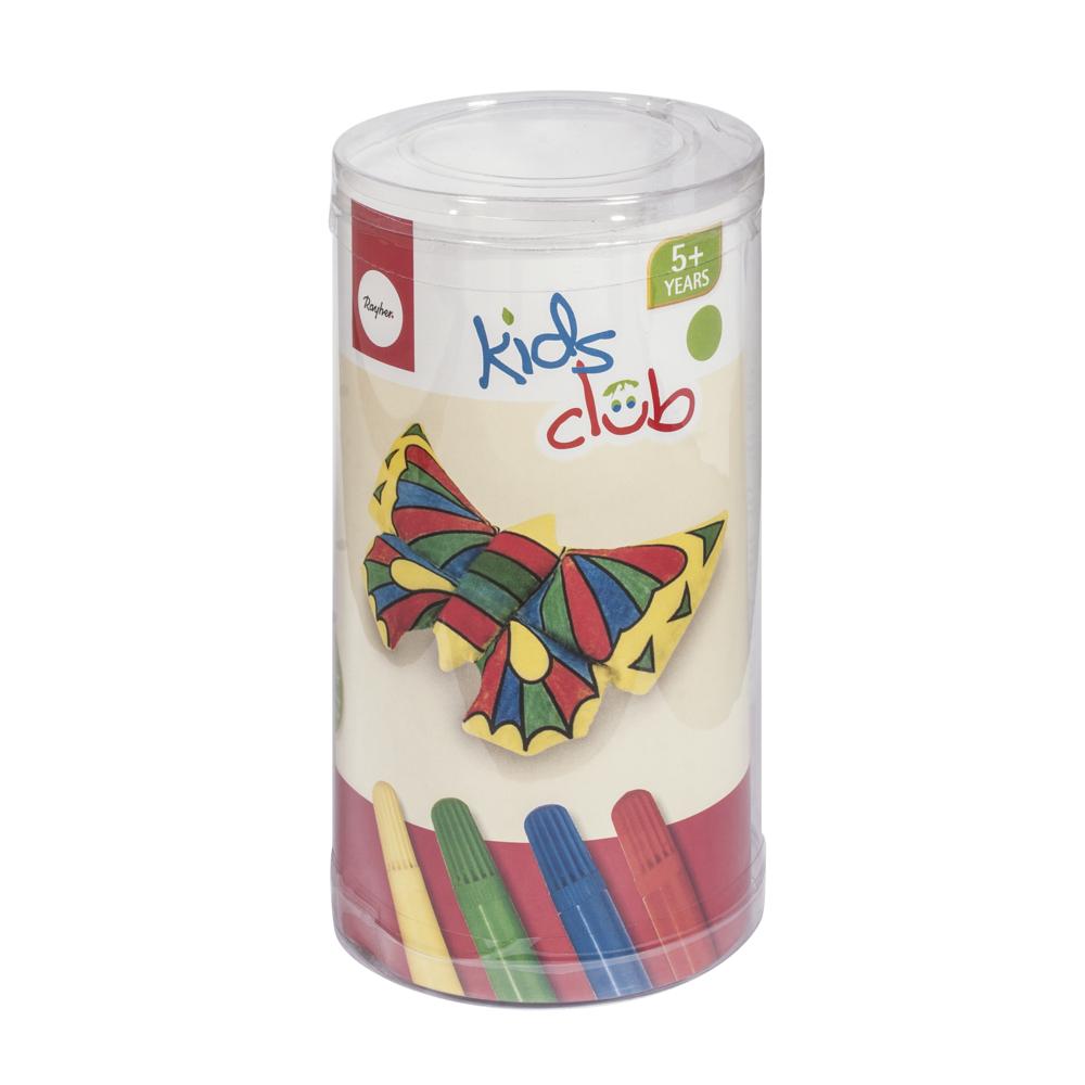 Stofftier -Schmetterling- zum Bemalen, 13 cm, PVC-Box 1 Tier + 4 Stifte