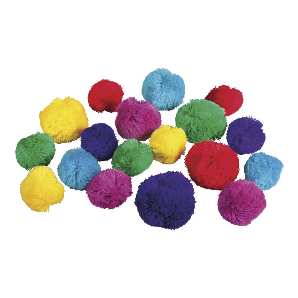Garn Pompons Set Ethno Mix, 3,8+5cm ø, Farben+Größen sortiert, SB-Btl 18Stück