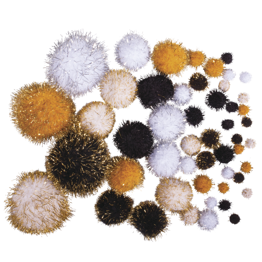 Metallic-Pompons,sortiert, Farben+Größen sortiert, SB-Btl 50Stück, schwarz-gold
