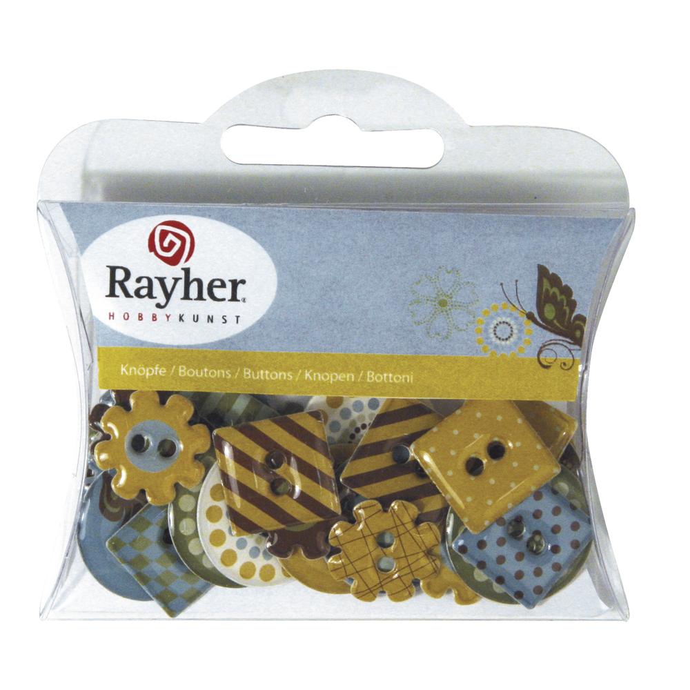Motiv-Knöpfe-Papier: Butterfly, 3 Formen, versch. Motive, 2x2,5cm, SB-Box 30 Stück