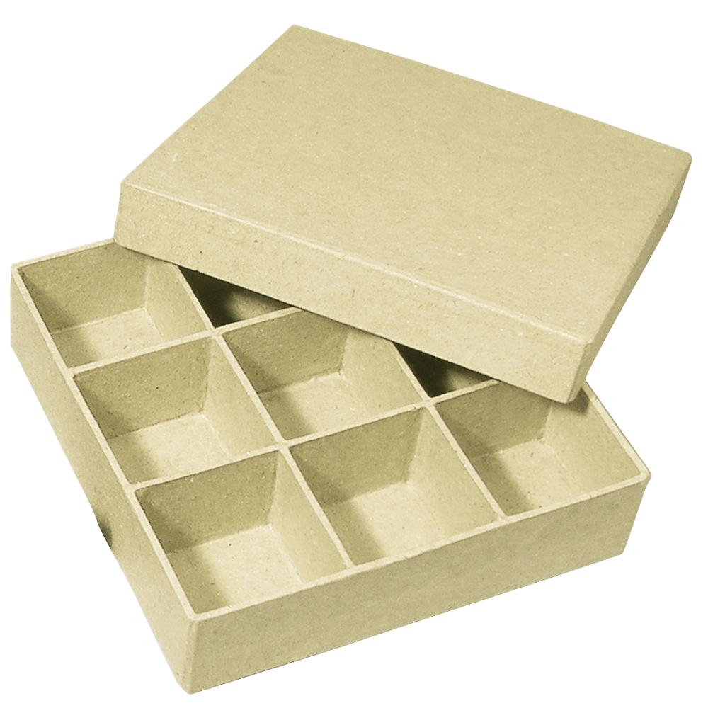 Pappmaché Sortierbox FSC Recycled 100%, 14x14x3,5cm, Quadrat mit 9 Fächer