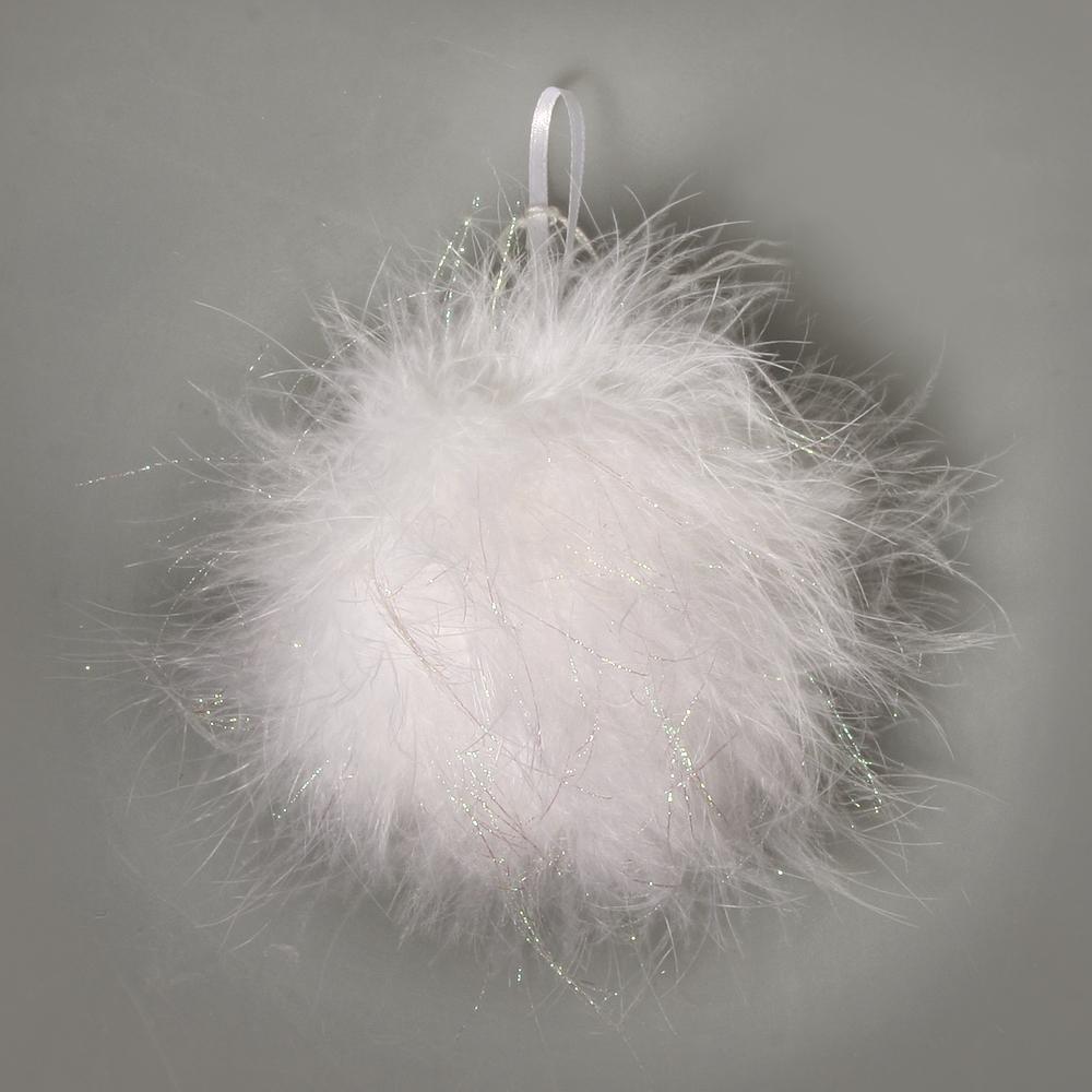 Feder Ball mit Glitter, 6cm ø, mit Hänger, schneeweiß