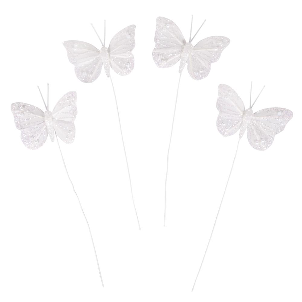 Federschmetterling beglimmert, 6x5cm, Box 4Stück, weiß