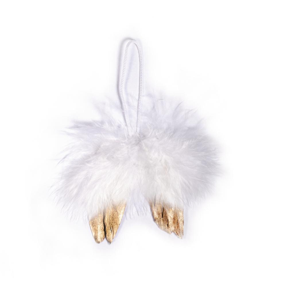 Engelflügel aus Federn, 5cm, zum Hängen, SB-Btl 2Stück, weiß/gold