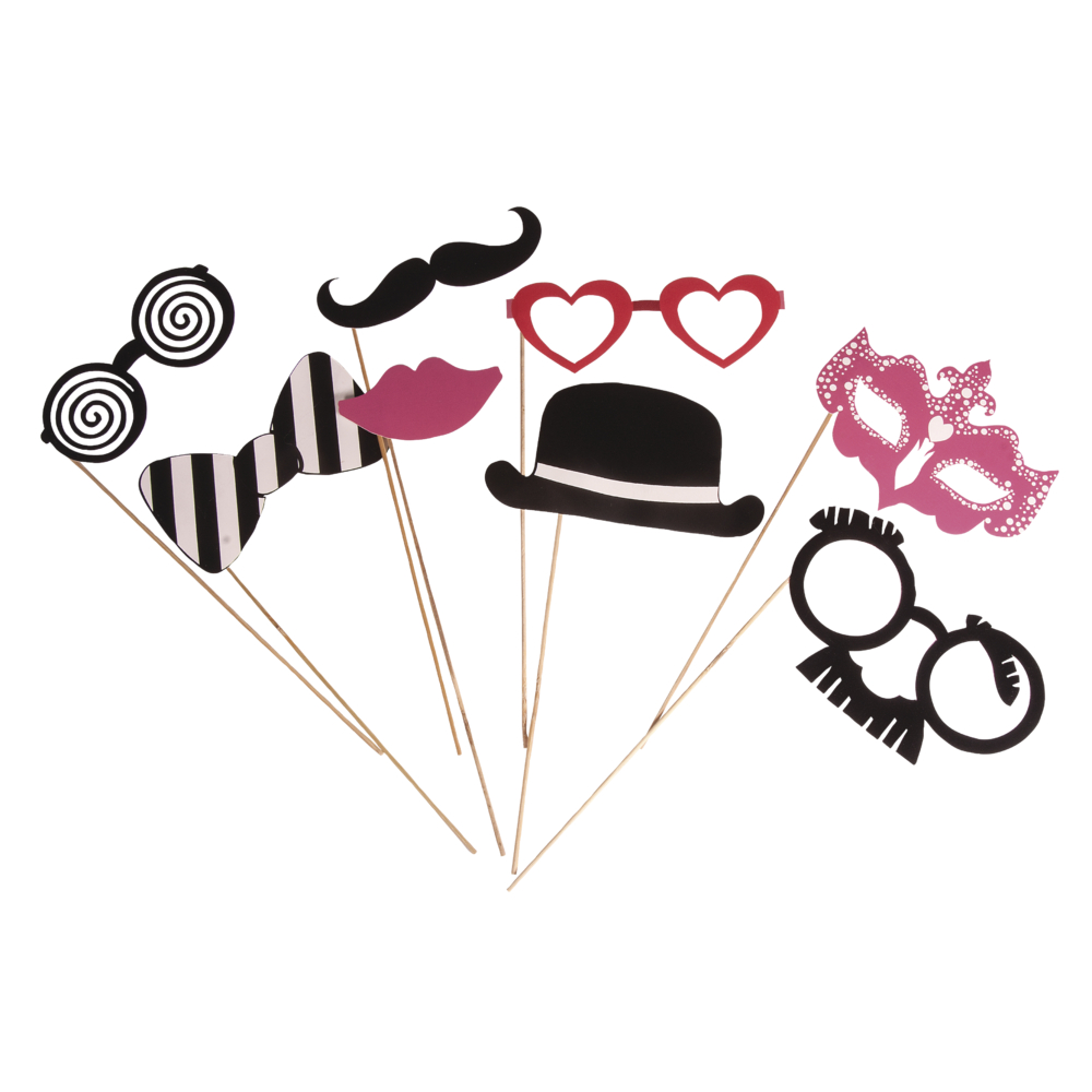 Party Masken Basic 1, mit Holzstab, SB-Btl 8Stück