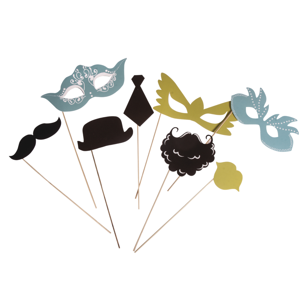 Party Masken Basic 2, mit Holzstab, SB-Btl 8Stück