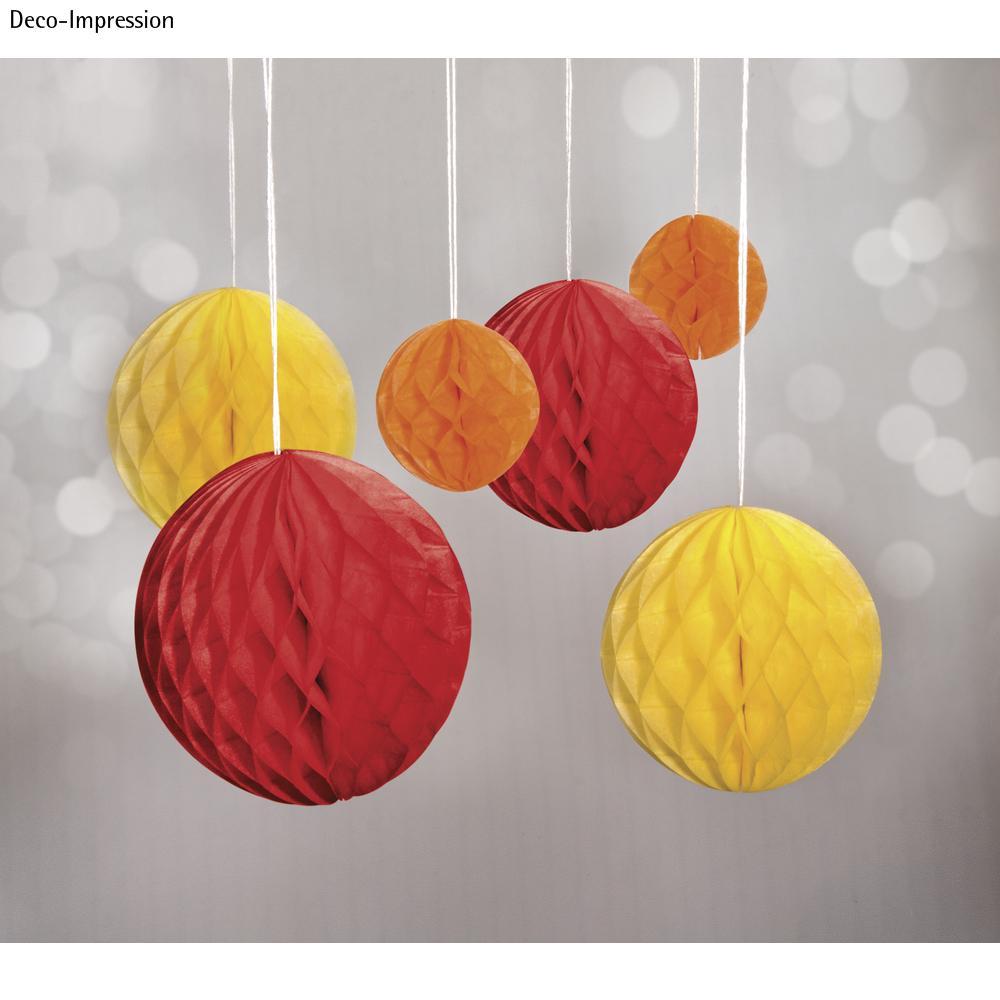 Wabenbälle zum Hängen, 5/8/10cm farbl. sortiert, SB-Btl 6Stück, rot/gelb/orange