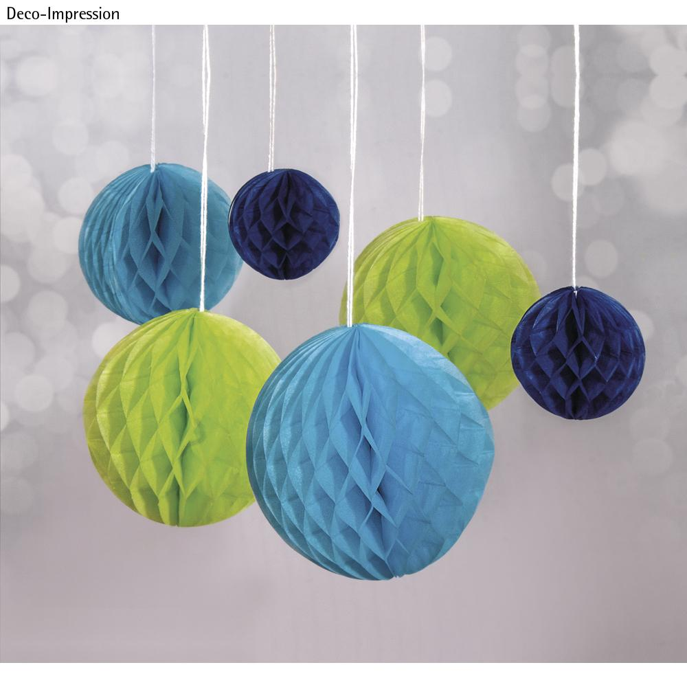 Wabenbälle zum Hängen, 5/8/10cm farbl. sortiert, SB-Btl 6Stück, h.grün/h.blau/d.blau